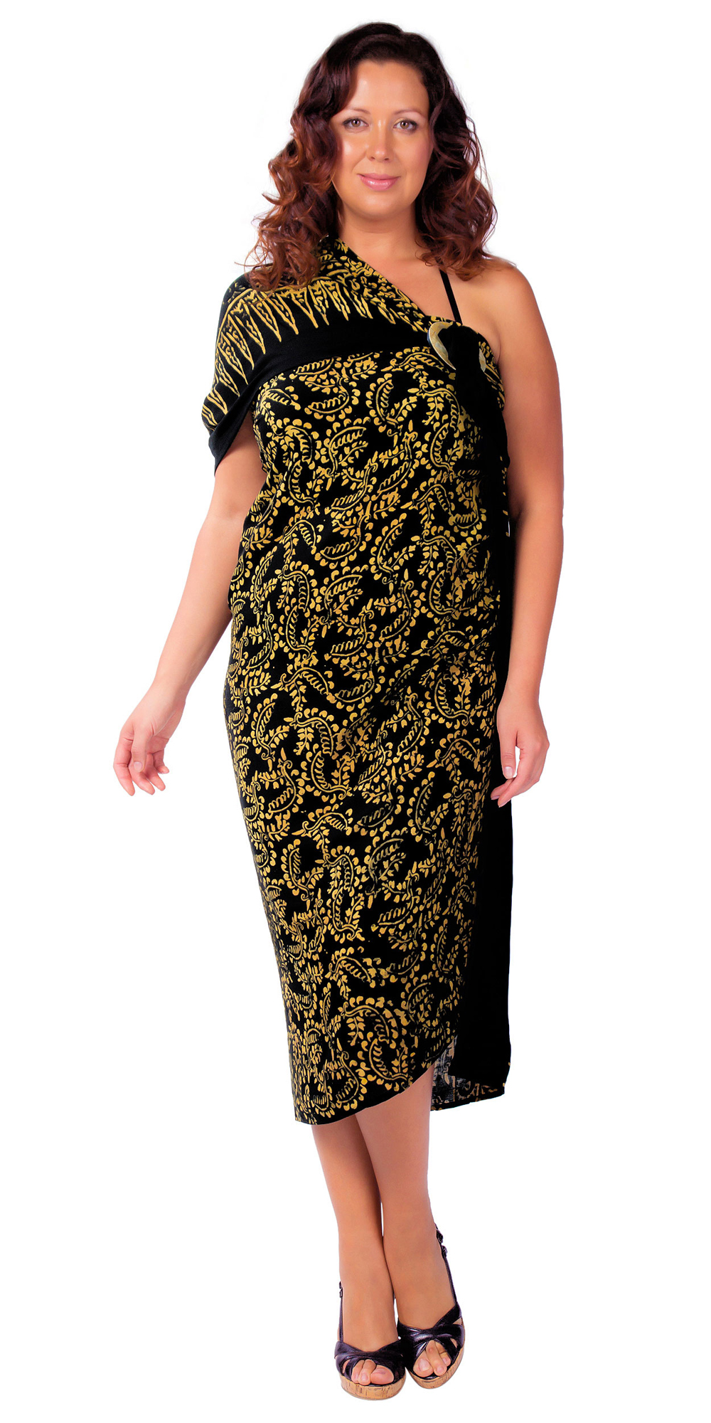 Size Abstract Floral Sarong Fringeless Glimmer Glam Gold And Black