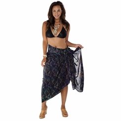 "Plus Size Abstract Floral Sarong ""Bohemian Brenda"" Orange Pink and Black"