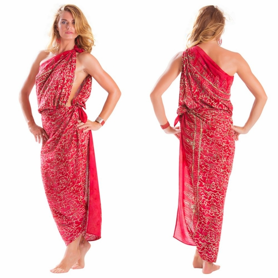 "Plus Size Abstract Floral Sarong ""Golden Rose"" Red and Gold"