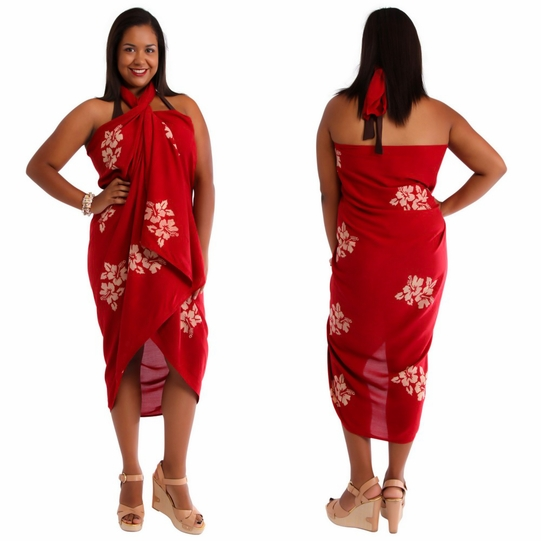 Plus Sized Hibiscus Flower Sarong Burgundy