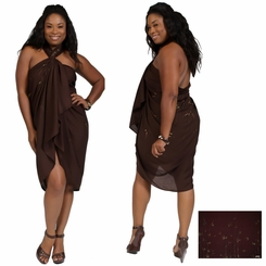 "Plus Sized Sarong Bamboo ""Brown"" Fringeless"