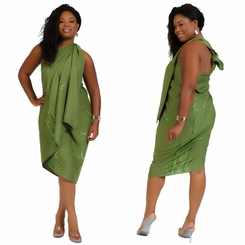 "Plus Sized Sarong Bamboo ""Olive Green"" Fringeless"