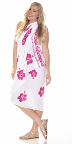 Polynesian Floral PLUS SIZE Sarong in White/Fuchsia-NO RETURNS