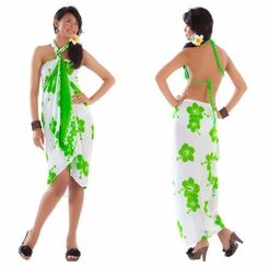 Polynesian Floral Sarong in White/Green