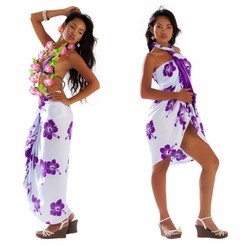 Polynesian Floral Sarong in White/Violet