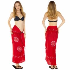 Red Sarong w/ Triple Embroidery