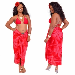 """Red"" Smoked Sarong PLUS SIZE XL - 3X +"