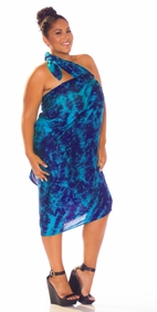 Sarong in Blue / Turquoise Smoked PLUS Size XL - 3X +