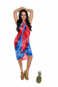 Tie Dye Sarong in Diamond Red And Blue