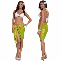 Seashell Half Sarong in Green w/ Multicolor