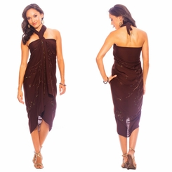 Sequined / Embroidered / Beaded Sarong Brown