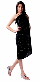 Sequined / Embroidered / Beaded Sarong in Black