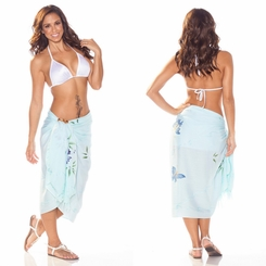"Sequined / Embroidered / Butterfly Sarong ""Light Blue"""