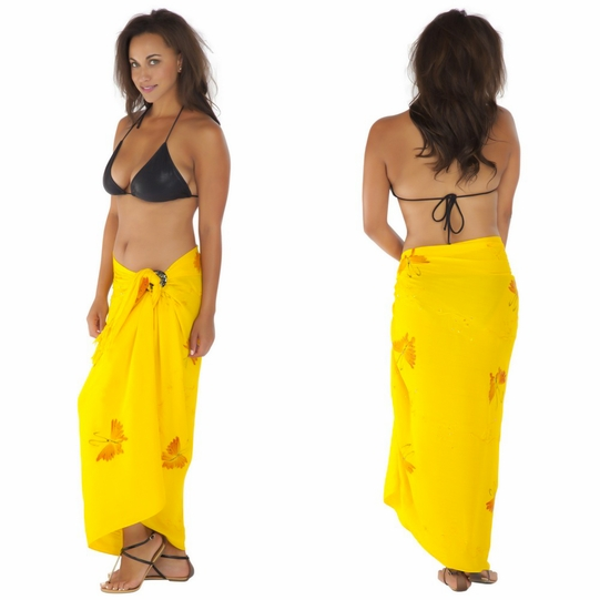 """Sequined / Embroidered / Butterfly Sarong """"Yellow"""""""