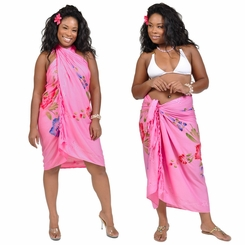 "Sequined Embroidered Floral Sarong ""Pink"""