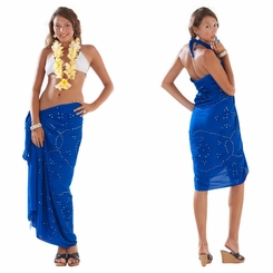 Sequined / Embroidered Sarong in Blue