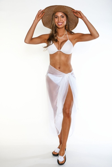 Sheer Swimsuit Cover-Up Wrinkle Chiffon Sarong in White