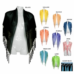 Shelled Fringe Shawl - in your choice of colors