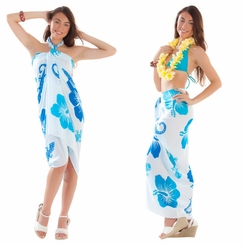 Small Gecko and Floral Sarong in Turquoise