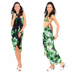 Smoked Hibiscus Floral Sarong in Green