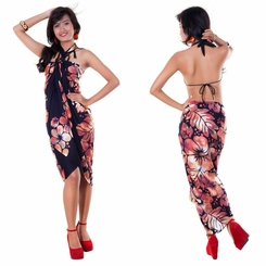 Smoked Hibiscus Floral Sarong in Orange