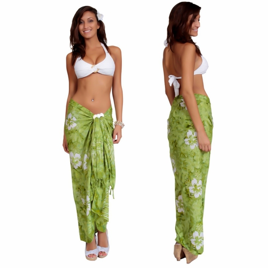 Smoked Hibiscus Sarong in Green