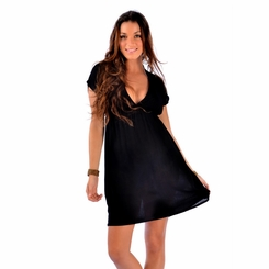 Solid Black Deep V-Neck Cover-Up Short Dress