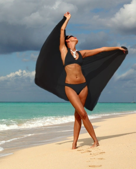 Solid Black Sarong FRINGELESS
