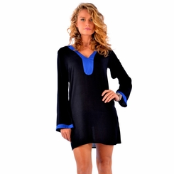 Solid Black Tunic Cover Up with Blue Trim