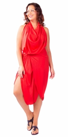 Solid Color Plus Size Fringeless Sarong in Red
