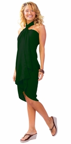 Solid Color Sarong FRINGELESS in Forest Green