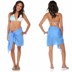 "Solid Half Sarong ""Light Blue"""