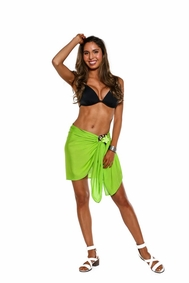 Solid Lime Green FRINGELESS Half Sarong