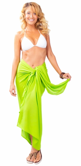 Solid Lime Green FRINGELESS Sarong