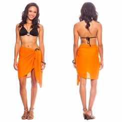Solid Orange Half Sarong/Mini Sarong FRINGELESS