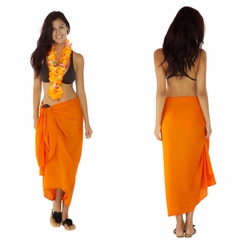 Solid Orange Sarong FRINGELESS