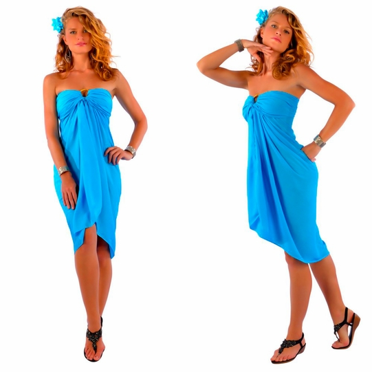 Solid Turquoise FRINGELESS Sarong
