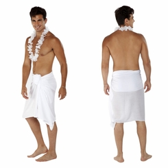 Solid White Mens Sarong FRINGELESS