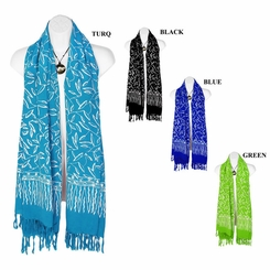 Spring Leaves Motif Extra Wide Neck Scarf, Wrap or Shawl - in your choice of colors