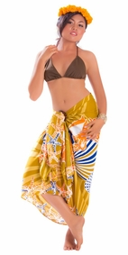 Starfish Seashell Sarong in Brown-NO RETURNS