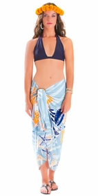 Starfish Seashell Sarong in Grey-NO RETURNS