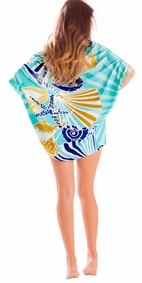 Starfish Seashell Sarong in Teal Brown-NO RETURNS