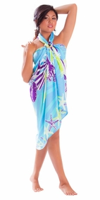 Starfish Seashell Sarong in Turquoise-NO RETURNS