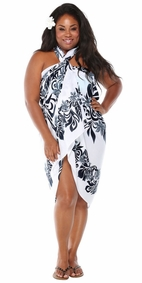 Tahitian Lei PLUS SIZE Sarong in Black/White-NO RETURNS