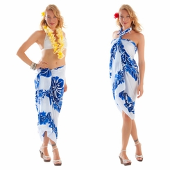 Tahitian Lei Sarong in Royal Blue/White