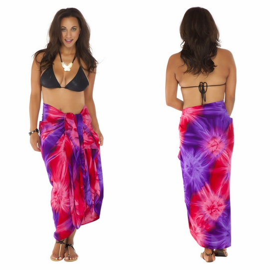 Tie Dye Plus Size Sarong in Chakra Pink-Red-Purple FRINGELESS
