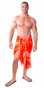 Top Quality Smoked Mens Sarong in Orange