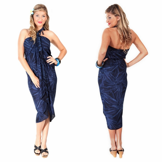 Top Quality Smoked Sarong in Dark Blue