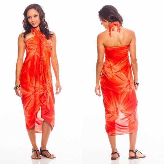 Top Quality Smoked Sarong in Orange