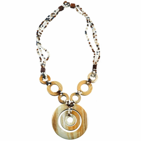 Triple Bead String Necklace with Triple Round Wooden Pendant in White
